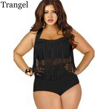 Trangel Vintage Long-line Tassel Fringe Plus Size Bikini (Multiple Colors L - 4XL)