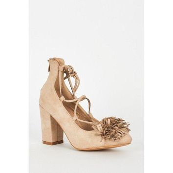 Beige Lace Up Fringed Faux Suede Block Heel Shoes