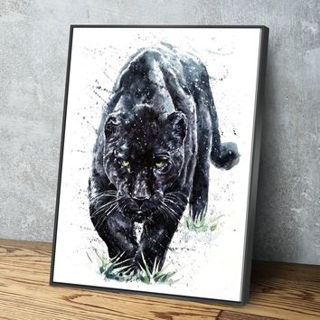 Black Jaguar Painting Canvas Set