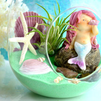 Mermaid Terrarium Kit - Small Bullet Terrarium with Air Plant ~ Beach Decor ~ Sea Foam Green Sand ~ Miniature Garden ~ Gift Idea ~ Mermaid