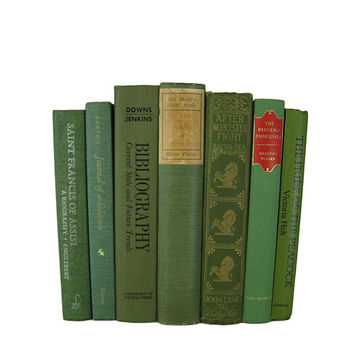 Farmhouse Style Books for Decorating, Green Decorative Books, Country Decor, Rustic Wedding Decor, Old Books,  Books for Decor,