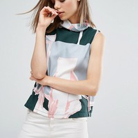 Waven Eleni 2.0 Printed Funnel High Neck Top at asos.com