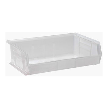 Quantum Plastic Storage Clear-View Ultra Hang and Stack Bin 10-7/8 x 16-1/2 x 5 - Pack of 6