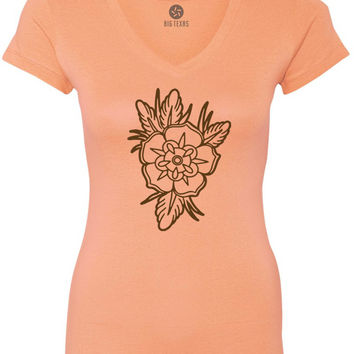 Old School Floral Tattoo (Brown) Women's Short-Sleeve V-Neck T-Shirt