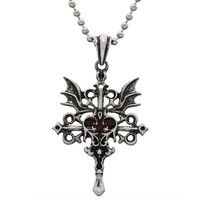 Red Heart with Vampire Wings Pendant