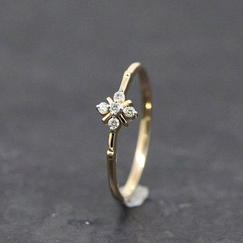 5 stone diamond ring,small diamond ring,petite diamond ring,diamond ring gift