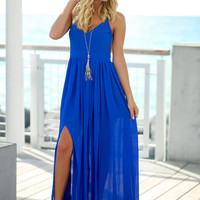 Royal Blue Maxi Dress with Open Back
