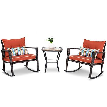 Red 3 Piece Patio Set Rattan Wicker Rocking Chairs with Coffee Table