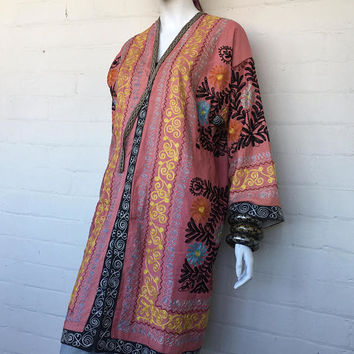 Vintage Embroidered Tribal Coat Duster//Boho Hippie Bohemian Duster//Indian, Kimono, Kaftan, Nomad, Gypsy Jacket