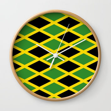 Flag of Jamaica 3-Jamaican,Bob Marley,Reggae,rastafari,cannabis,ganja,america,south america,ragga Wall Clock by oldking