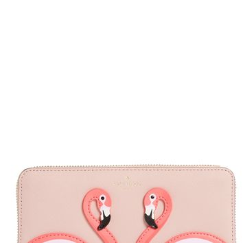 kate spade new york by the pool - flamingo lacey leather wallet | Nordstrom