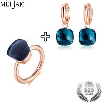 Classic Blue Topaz Earring Ring Solid 925 Sterling Silver with Rose Gold Color Jewelry Sets