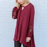 Harvest Glow Maroon Trapeze Tunic Dress With Keyhole Cutout