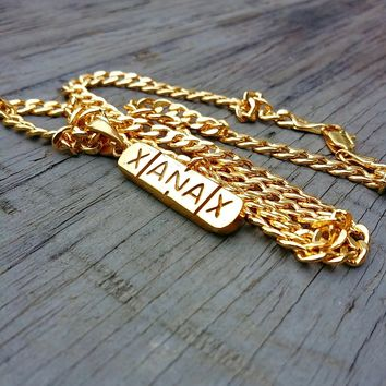 "Unique Ice — 4MM WIDE CUBAN 24"" Yellow Gold filled Chain Gold Dipped XANAX BAR PENDANT"