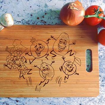 ikb593 Personalized Cutting Board funny cartoon fruits vegetables vegetarian kitchen gift