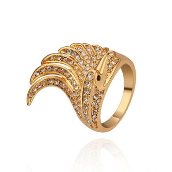 Gold Plated Spiral Curved Classical Cocktail Ring