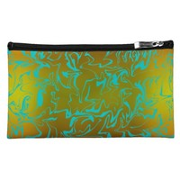Abstract Golden Swirl Makeup Bag