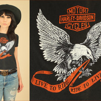 ViNtAgE 70's Harley Davidson T-Shirt // Live To Ride Ride To Live Eagle Print // Black Cotton Tee // Motorcycle Biker Moto // Womens Small S