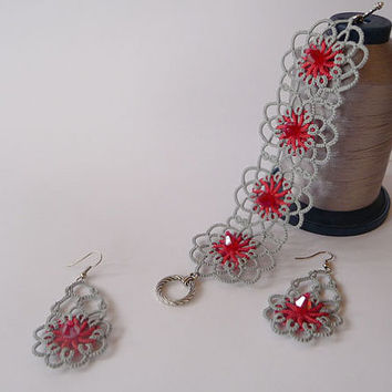 "Tatting jewelry set with a beads' ""Coral in silver""- OOAK Tatting earrings and bracelet  - Gift for her - party cocktail - wedding"