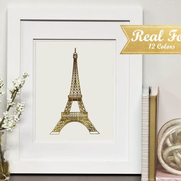 Real Gold Foil Print With Frame (Optional) - Golden Eiffel Tower, Eiffel Tower Decor,Gallery Wall, Wedding Present, Housewarming Gift,Office