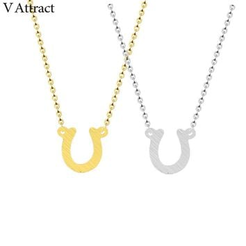 V Attract 10pcs/lot Stainless Steel Luck Tiny Horseshoe Pendant Necklace Women Collares Mujer Vintage Choker Best friends Gift