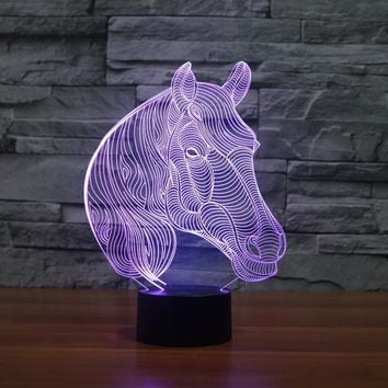 Acrylic 7 Colors Changing Animal Horse Led Nightlights 3D light LED Desk Table Lamp USB 5V Lamps for Home Decoration IY803455