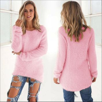 Long Sleeve Fluffy Sweater Jumper