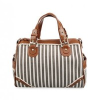 Antique Striped Coffee Handle Tote Bag / romwe.com