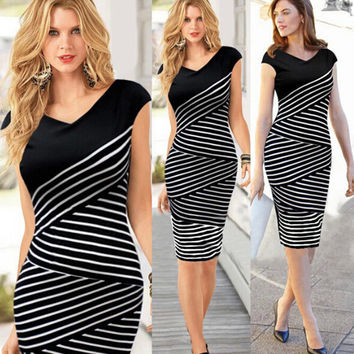 Stripes Female Slim Striped Women's Fashion Summer Plus Size New Arrival One Piece Dress = 5826273409