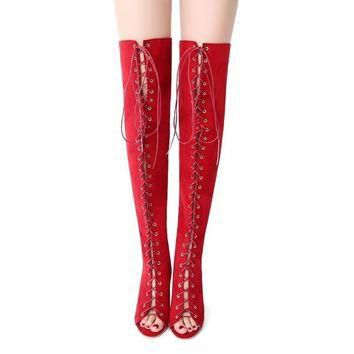 Sexy Black High Heels Gladiator Shoes Women Peep Toe Lace Up Thigh High Boots 2017 Sum