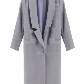 Gray Notched Collar Long Sleeve Maxi Trench Coat