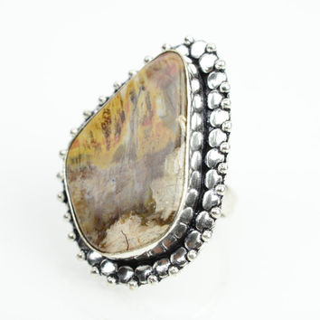 Jasper Ring Sz 7 Native American Gypsy boho Ring Navajo Ring Zuni Southwest Indian Silver Ring Jewelry Old Pawn Hopi Ethnic Ring Yellow Ston