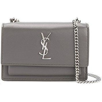 Saint Laurent Women's 452157d422n2034 Grey Leather Shoulder Bag