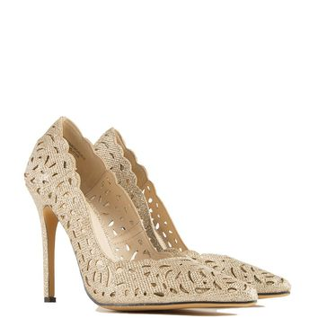Cutout Pointed Toe Pump in Gold