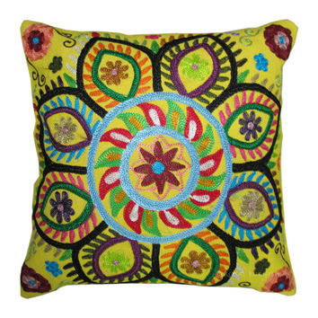 """16"""" Yellow Color Suzani Embroidered Decorative Cotton Cushion Pillow Throw Cover Embroidery Ethnic Indian Art"""