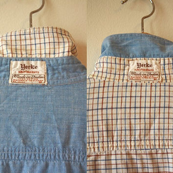 Chambray & Checked Reversible Button Up Vintage Shirt