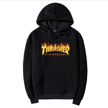 2017 Mens Hip-hop Hoodie Basic skateboard Jacket Thrasher Sweatshirts sweater