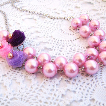 Pink Pearl Necklace, Bridesmaid Necklace, Two strand, Wedding Jewelry, Vintage Style, Pastel Flower, Collage Flowers, Collage Necklace