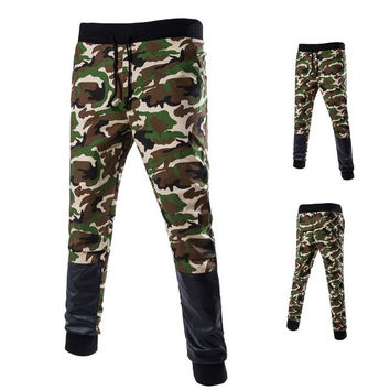 Men Camouflage Joggers Mens Leather Patchwork Sweatpants Harem Pants = 1958440068