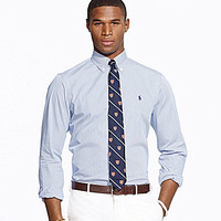 Polo Ralph Lauren Hairline-Striped Poplin Shirt - Blue/White