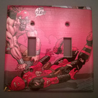 Comic Book superhero decoupage light switch cover double toggle Deadpool