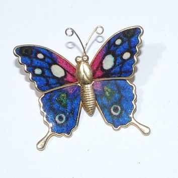 Vintage Butterfly Brooch, Blue, Pink, White Bug Pin, vintage jewelry