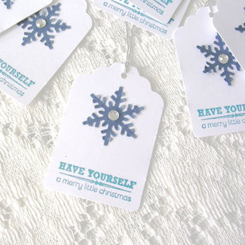 Christmas Gift Tags Handmade - Holiday Tags - Snowflake Tags - 12 Blue White Christmas Tags - Snowflake Favor Tags Wedding