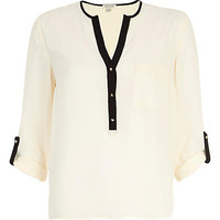 Cream contrast trim roll sleeve blouse - shirts - blouses / shirts - women