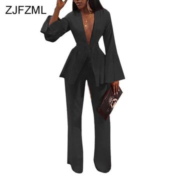 Sexy 2 Piece Matching Set Women Deep V Neck Long Flare Sleeve Tops+Full Length Wide Leg Pant Casual Outfit Autumn Two Piece Suit