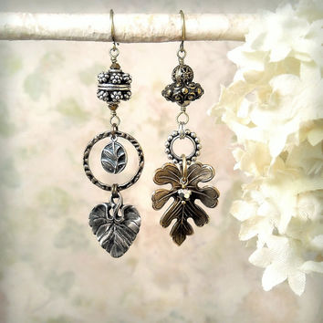 Fallen - OOAK Asymmetrical Leaf Earrings, Tribal Rustic Gypsy Mixed Metals Dangle Earrings, Woodland Forest Wedding Sterling Brass Earrings
