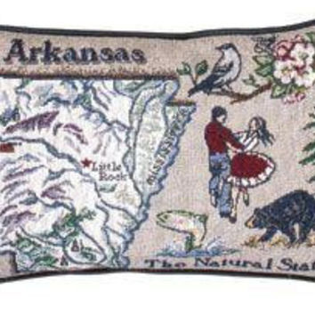 """2 State Of  Arkansas Throw Pillows -  """" The Natural State """""""