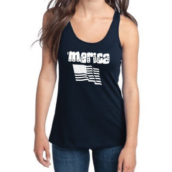 4th of July Independence Day Clothing - 'Merica US Flag Semi-Fitted Racerback Tank - Ladies