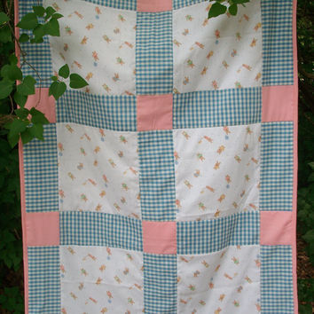 SALE - Handmade Bunny Crib or Toddler Bed Quilt in Blue and Pink, Baby Quilt, Vintage Look, Baby Shower, Heirloom