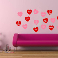 Conversation Hearts Set of 16 Wall Decals Valentines Day Decor Removeable Vinyl Wall Decals 22249